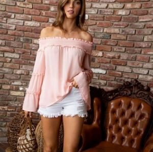 Tops - Ruffled Bell Sleeved Blush Top